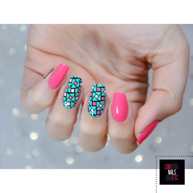 40 Great Nail Art Ideas - Pink aqua geometric nail art