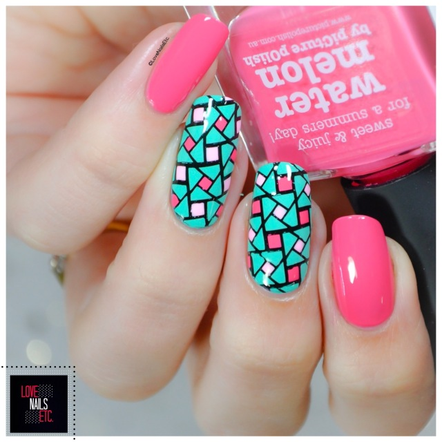 40 Great Nail Art Ideas - Pink aqua geometric nail art4