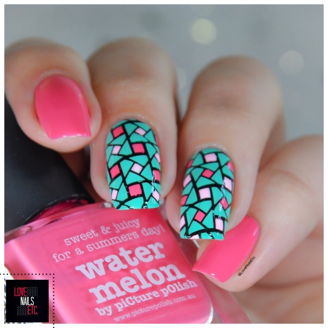 40 Great Nail Art Ideas - Pink aqua geometric nail art6