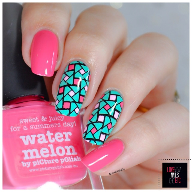 40 Great Nail Art Ideas - Pink aqua geometric nail art7